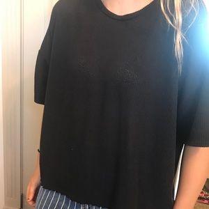 oversized black woven shirt